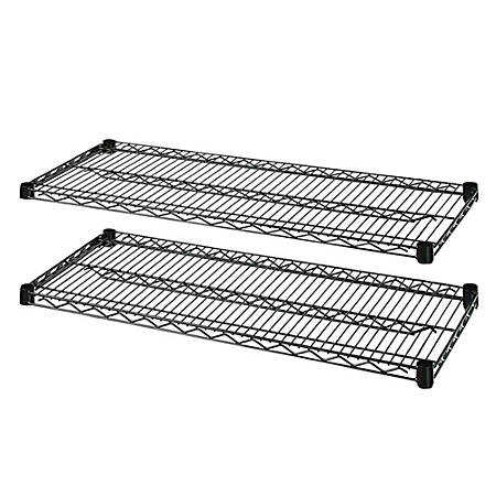 """Lorell® Industrial Wire Shelving Extra Shelves, 36""""W x 24""""D, Black, Set Of 2"""