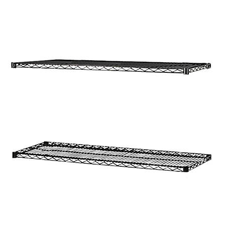 "Lorell® Industrial Wire Shelving Extra Shelves, 36""W x 18""D, Black, Set Of 2"