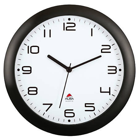 "Alba Silent Round Wall Clock, 12"" Diameter, Black"