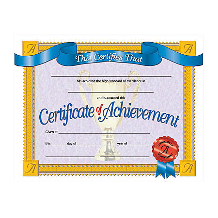 "Hayes Publishing Certificates Of Achievement, 8 1/2"" x 11"", Multicolor, Pack Of 30"