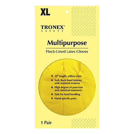 Tronex Flock-Lined Rubber Latex Multipurpose Gloves, X-Large, Yellow, Pack Of 24 Gloves