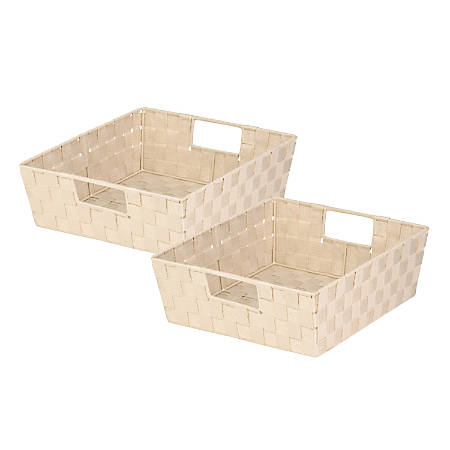 """Honey-Can-Do Woven Shelf Trays, 5""""H x 15""""W x 13""""D, Crème, Pack Of 2"""
