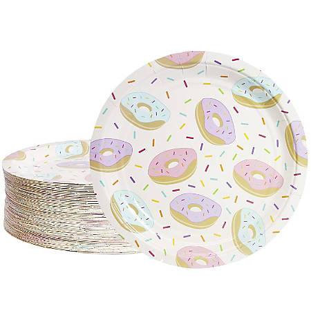 Disposable Plates - 80-Count Paper Plates, Donut Party Supplies For Appetizer, Lunch, Dinner, And Dessert, Kids Birthdays, 9 Inches In Diameter