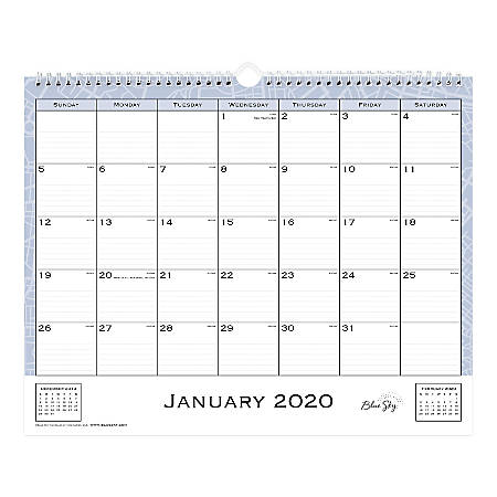"""Blue Sky™ Monthly Wall Calendar, 15"""" x 12"""", Passages, January To December 2020, 110399"""