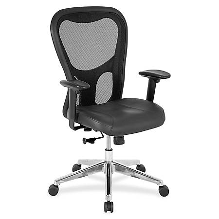 Lorell® Executive Leather/Mesh Mid-Back Chair, Black