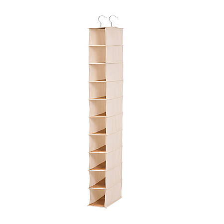 "Honey-Can-Do 10-Shelf Hanging Vertical Closet Organizer, Canvas, 54""H x 12""W x 12""D, Green/Natural Bamboo"