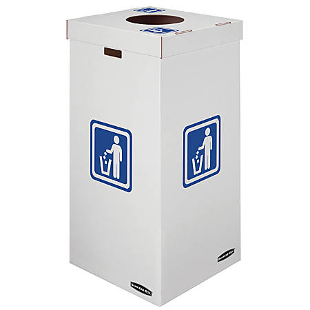 "Bankers Box® Waste And Recycling Bins, 50 Gallons, 36""H x 18""W x 18""D, 60% Recycled, White/Blue, Pack Of 10"