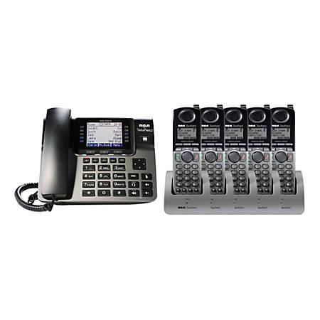 RCA By Telefield Unison DECT 6 0 5-Cordless-Handset Bundle With Digital  Answering System, RCA-U1B0D5HS Item # 968402