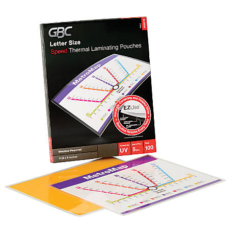 """GBC® EZUse™ Thermal Laminating Pouches, Letter Size, Speed Pouch, 5 Mil, 11 1/2"""" x 9"""", Pack Of 100"""