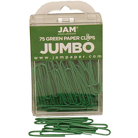 "JAM Paper® Paper Clips, Jumbo, 2"", 25-Sheet Capacity, Green, Pack Of 75"