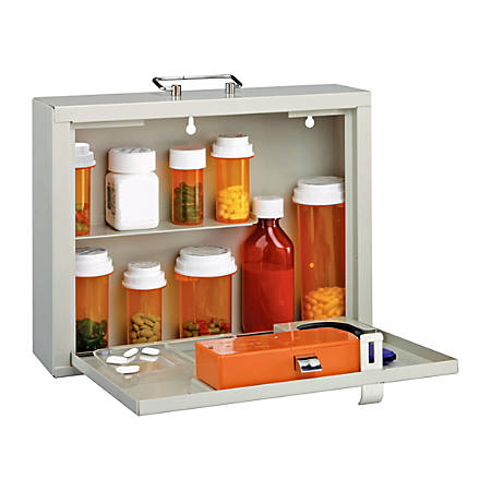 "MMF Industries Med-Master Premium Steel Medication Case, 9 1/2""H x 4""W x 12""D, Platinum"