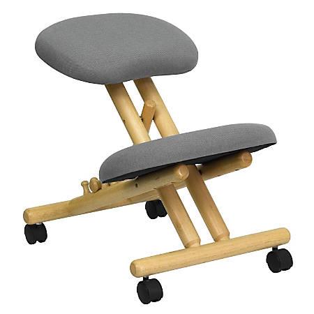 Flash Furniture Wood Mobile Ergonomic Kneeling Chair, Gray/Brown
