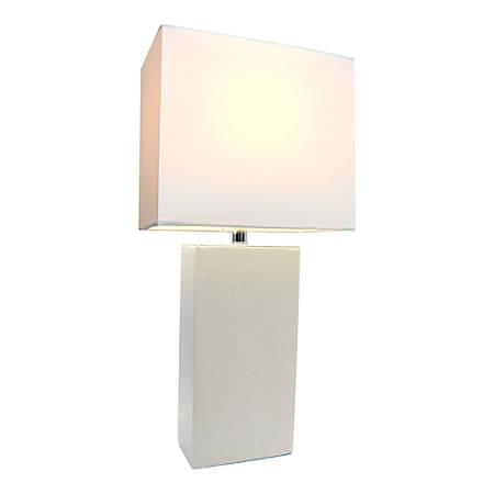 "Elegant Designs Monaco Avenue Leather Table Lamp, 21""H, White Shade/White Base"
