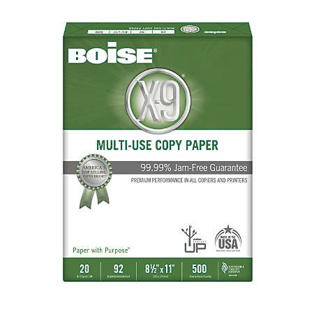 Boise® X-9® Multi-Use Copy Paper, Letter Paper Size, 92 Brightness, 20 Lb, White, Ream Of 500 Sheets