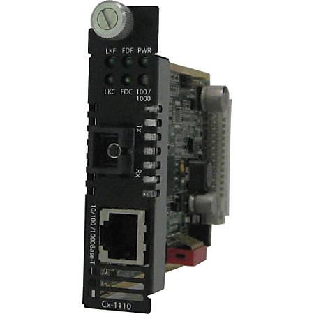 Perle C-1110-S1SC10D Media Converter - 1 x Network (RJ-45) - 1 x SC Ports - 1000Base-BX-D, 10/100/1000Base-T - Internal