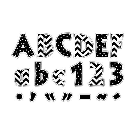 """Barker Creek® Letter Pop-Outs, 4"""", Black Chevron And Dots, Set Of 255"""