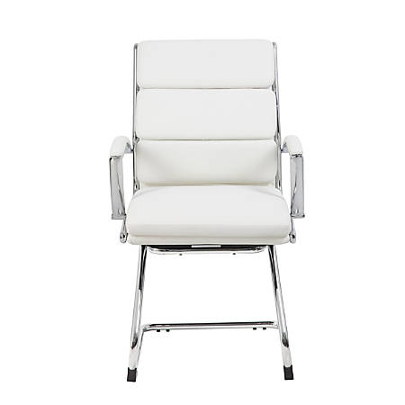 Boss CaressoftPlus Guest Chair, White/Chrome