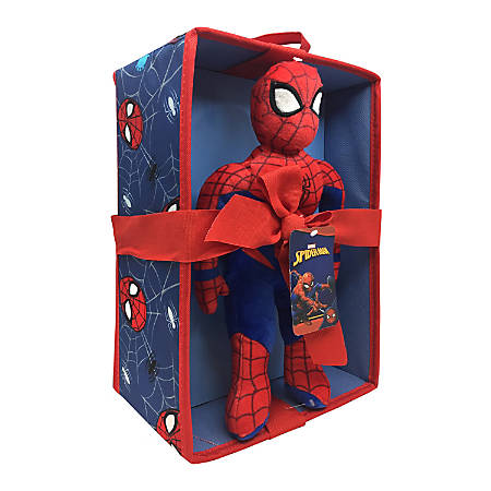 "MARVEL Spider-Man Mini Pillow Pal and Storage Bin, 12-1/2""H x 1""W x 8-1/2""D, Blue"