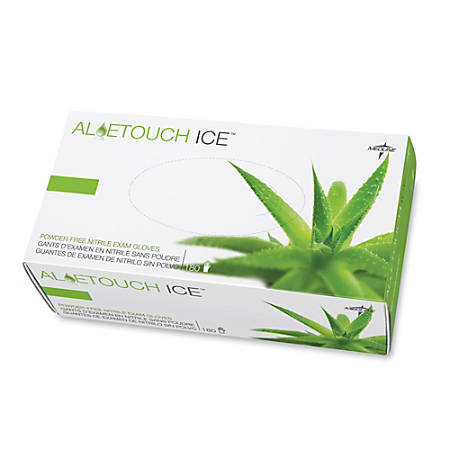 Medline AloeTouch Ice Nitrile Gloves, powder_free, Large, Box Of 200