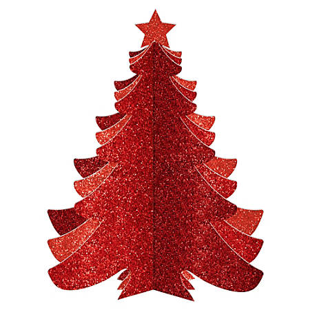 """Amscan Christmas 3-D Glitter Tree, 10-1/4"""" x 7-7/8"""", Red, Pack Of 4 Trees"""