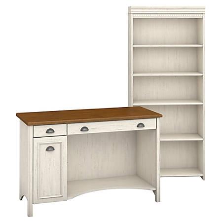 Bush Furniture Stanford Computer Desk And 5 Shelf Bookcase, Antique White/Tea Maple, Standard Delivery