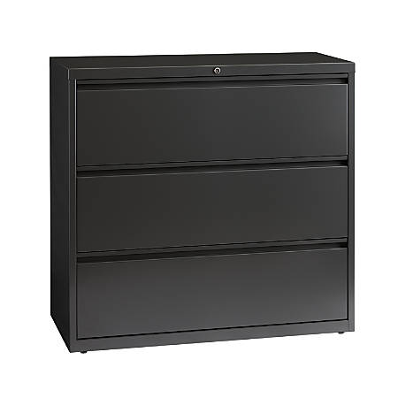 "WorkPro® 42""W Lateral 3-Drawer File Cabinet, Metal, Charcoal"