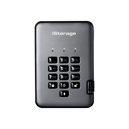 iStorage diskAshur PRO² SSD - Solid state drive - encrypted - 256 GB - external (portable) - USB 3.1 - FIPS 140-2 Level 3, FIPS 197, 256-bit SHA, 256-bit AES-XTS