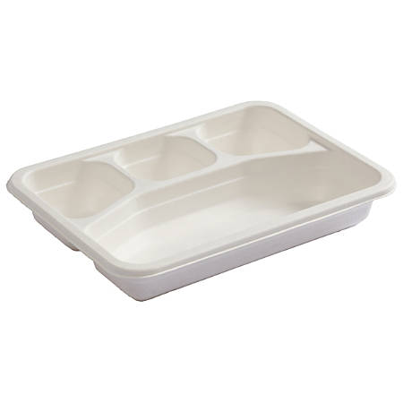 "Earth Wise Heavyweight Divided Catering Boxes, 8"" x 10-3/4"", White, Case Of 200 Boxes"