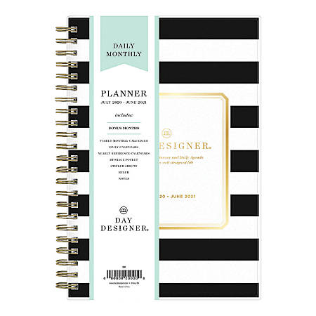 """Blue Sky™ Day Designer Academic Daily/Monthly Planner, 5"""" x 8"""", Black Stripe, July 2020 To June 2021, 120054"""