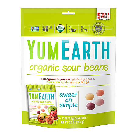 Yummy Earth Organic Sour Beans, 3.5 Oz, Pack Of 3
