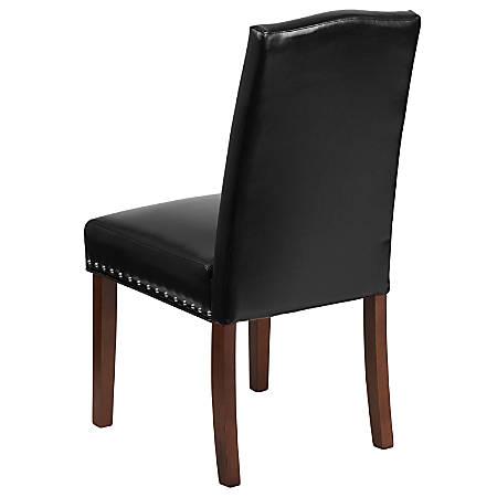 Flash Furniture HERCULES Hampton Hill Parsons Chair With Nail Trim, Black/Wood Grain