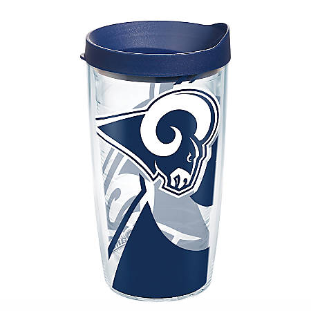 Tervis NFL Tumbler With Lid, 16 Oz, Los Angeles Rams, Clear