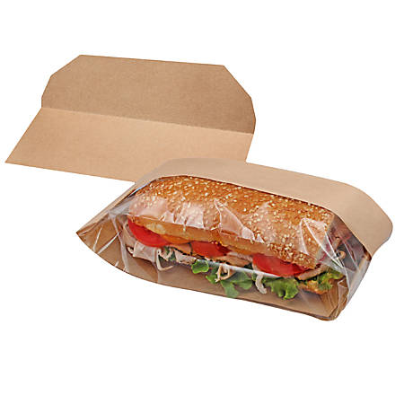 """BagCraft Dubl View® ToGo Deli Bags With Trays, 1 Gallon, 10-1/2""""H x 5-3/4""""W x 2-3/4""""D, Brown/Clear, Pack Of 250 Bags"""