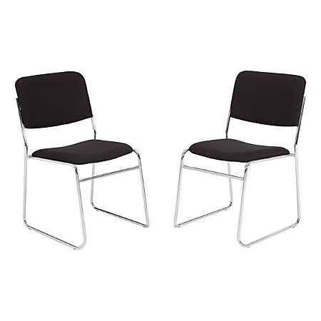National Public Seating 8600 Padded Signature Stack Chairs, Black/Chrome, Set Of 2 Chairs
