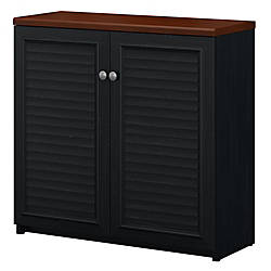 Bush Furniture Fairview Small Storage Cabinet With Doors Antique Blackhansen Cherry Standard Delivery By Office Depot Officemax