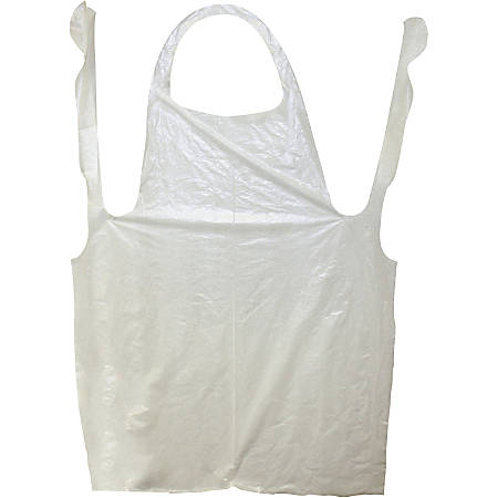 """Impact Products ProGuard Disposable 42"""" Poly Apron - Polyethylene - For Food Handling, Food Service, Manufacturing - White - 1000 / Carton"""