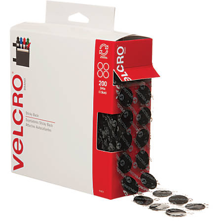"VELCRO® Brand Tape Combo Pack, 3/4"" Dots, Black, Case Of 200 Dots"