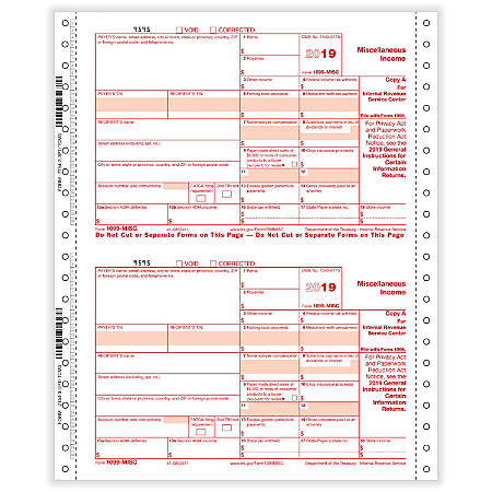 "ComplyRight™ 1099-MISC Tax Forms, Continuous, Copies A, B And C, 3-Part, 9"" x 11"", Pack Of 100 Forms"