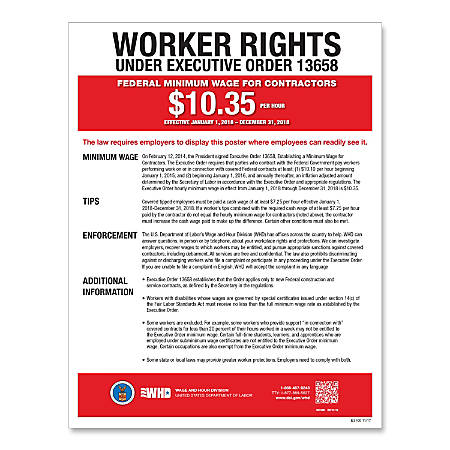 """ComplyRight Federal Contractor Minimum Wage Poster, English, 11"""" x 17"""""""