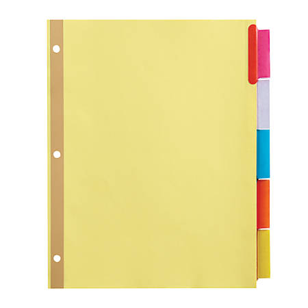 Office Depot® Brand Insertable Dividers With Big Tabs, Buff, Assorted Colors, 5-Tab, Pack Of 4 Sets