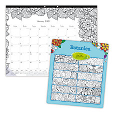 Blueline DoodlePlan Monthly Coloring Desk Pad