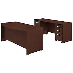 "Bush Business Furniture Studio C Bow Front Desk And Credenza With Mobile File Cabinets, 72""W x 36""D, Harvest Cherry, Standard Delivery"