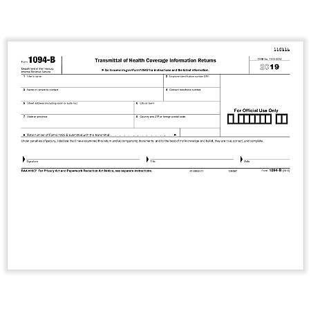 """ComplyRight™ 1094-B Transmittal Laser/Inkjet Tax Forms, 8-1/2"""" x 11"""", Pack Of 50 Forms"""