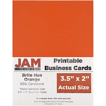 "JAM Paper® Printable Business Cards, 3 1/2"" x 2"", Orange, 10 Cards Per Sheet, Pack Of 10 Sheets"