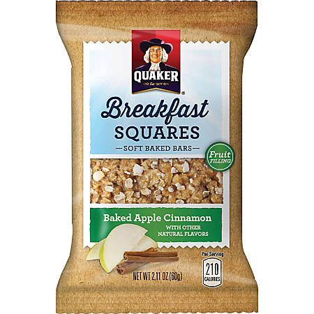 Quaker Oats Foods Breakfast Squares Soft Baked Bars - Individually Wrapped, No Artificial Flavor - Baked Apple, Cinnamon - 2.11 oz - 6 / Box