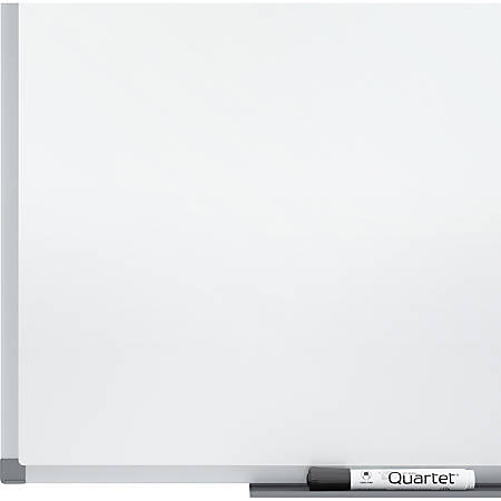 "Quartet® Standard DuraMax® Porcelain Magnetic Whiteboard, 8' x 4', Silver Aluminum Frame - 96"" (8 ft) Width x 48"" (4 ft) Height - White Porcelain Surface - Silver Aluminum Frame - Rectangle - Horizontal/Vertical - 1"