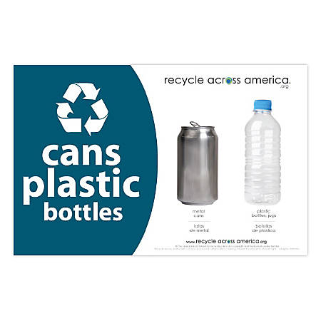 """Recycle Across America Cans And Plastics Standardized Recycling Labels, CP-5585, 5 1/2"""" x 8 1/2"""", Dark Teal"""