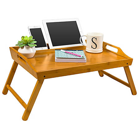 "LapGear Lap Desk With Legs, 13.9""H x 21.8""W x 2.6""D, Natural Bamboo"