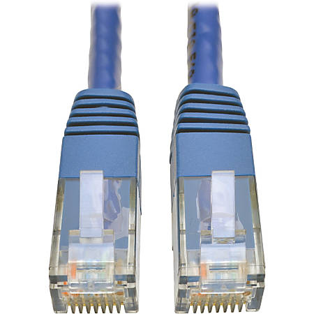 Tripp Lite Cat6 Gigabit Molded Patch Cable RJ45 M/M 550MHz 24 AWG Blue 1' - 1 x RJ-45 Male Network - 1 x RJ-45 Male Network - Gold-plated Contacts - Blue