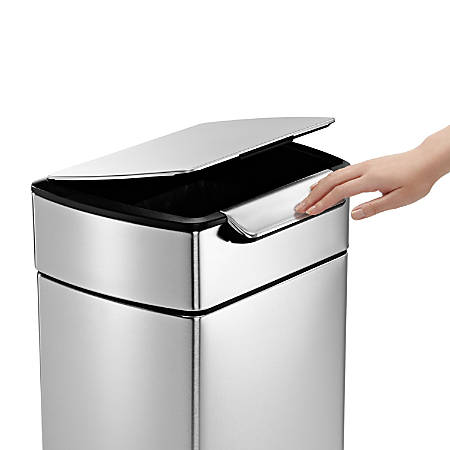 simplehuman Rectangular Touch-Bar Trash Can, 8 Gallons, Brushed Stainless Steel